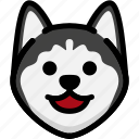 emoji, emotion, expression, face, feeling, happy, siberian husky icon