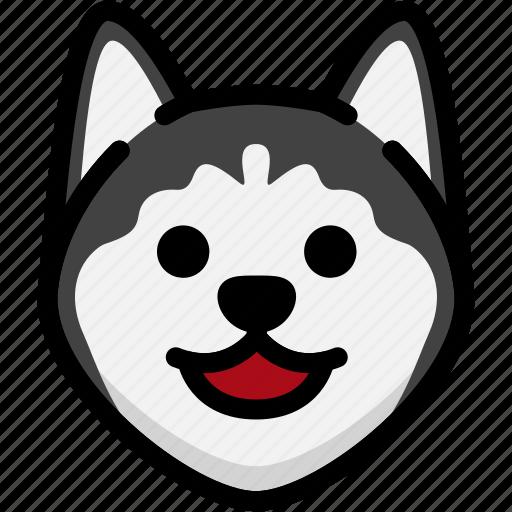 emoji, emotion, expression, face, feeling, happy, siberian husky icon