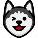 emotion, happy, siberian husky, face, feeling, expression, emoji