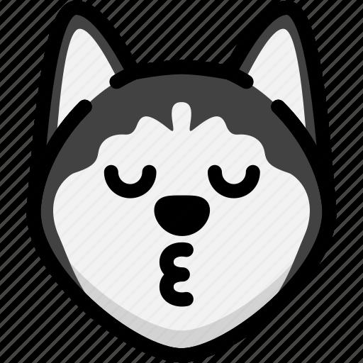 Emoji, emotion, expression, face, feeling, kiss, siberian husky icon - Download on Iconfinder
