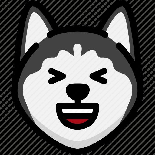 emoji, emotion, expression, face, feeling, laughing, siberian husky icon