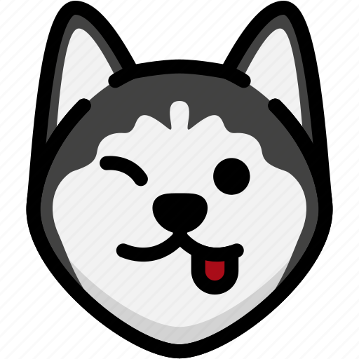 emoji, emotion, expression, face, feeling, naughty, siberian husky icon