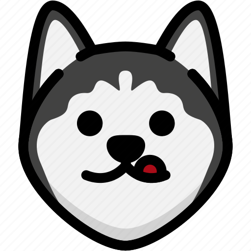 dog, emoji, emotion, expression, face, naughty, siberian husky icon