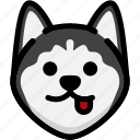 emoji, emotion, expression, face, feeling, naughty, siberian husky icon
