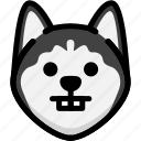 emoji, emotion, expression, face, feeling, nerd, siberian husky icon