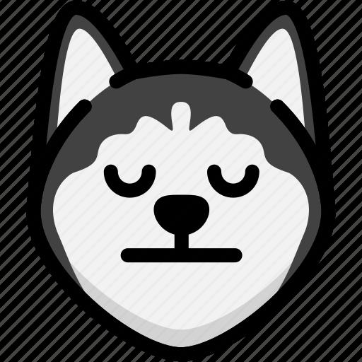 emoji, emotion, expression, face, feeling, neutral, siberian husky icon