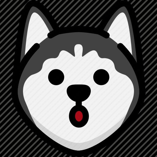 dog, emoji, emotion, expression, face, mouth, open icon