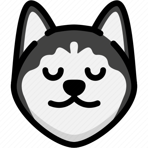Emoji, emotion, expression, face, feeling, peace, siberian husky icon - Download on Iconfinder