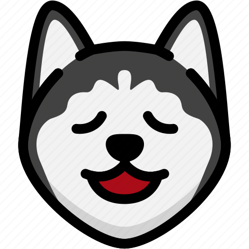 emoji, emotion, expression, face, feeling, relax, siberian husky icon