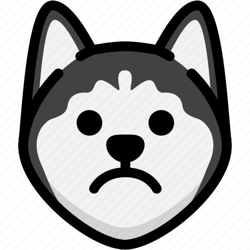 emoji, emotion, expression, face, feeling, sad, siberian husky icon