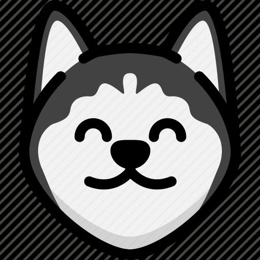 emoji, emotion, expression, face, feeling, siberian husky, smile icon