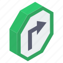 direction arrow, return, right turn, road sign, turn sign