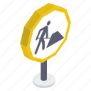 construction area, construction banner, construction sign, construction symbol, road sign, signboard icon
