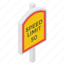 guidepost, road board, road guide, slow speed symbol, speed limit icon