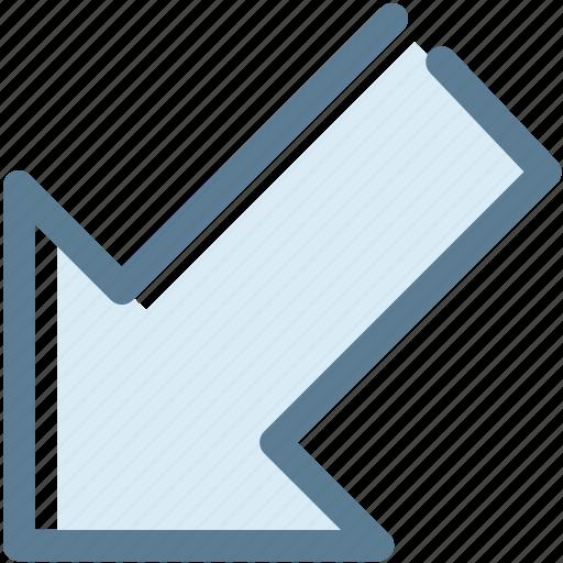 arrow, bottom, corner, diagonal, lower left, navigation, sign icon