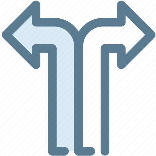 arrow, intersection, navigate, sign, turn left, turn left and turn right, turn right icon