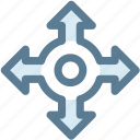 arrow, direction, intersection, point, pointer, roundabout icon