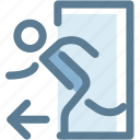 door, enter, entrance, navigation, open, person, sign icon