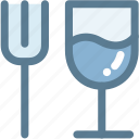 dinner, fork, glass, navigation, restaurant, sign, wine glass icon