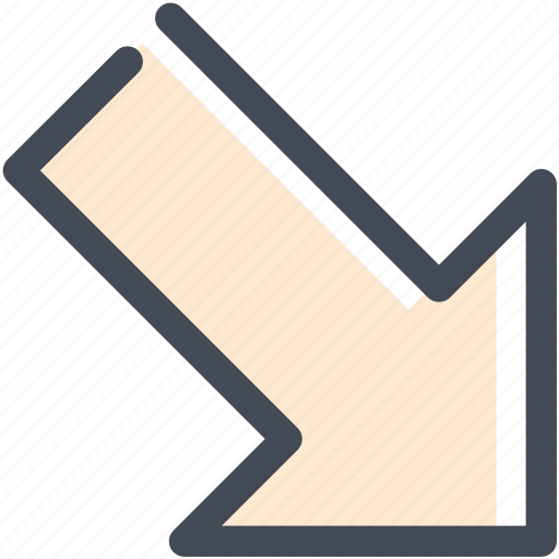 down, formation, lower right, movein, navigation, overall, sign icon