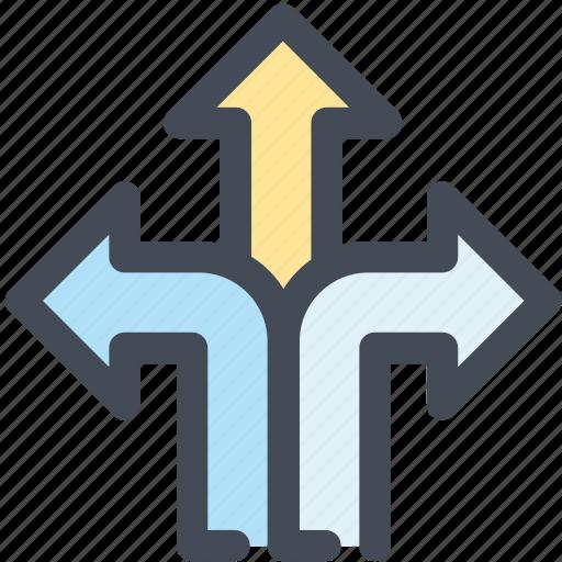 arrows, decision, direction, three icon