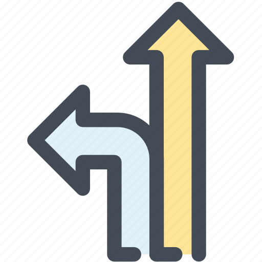 arrow, go straight on, junction, navigate, navigation, sign, turn left icon