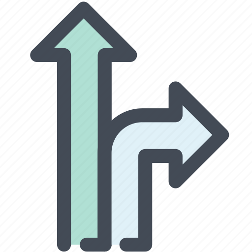 arrow, go straight on, junction, navigate, navigation, sign, turn right icon