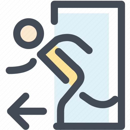 door, enter, entrance, navigation, open, person, sign icon