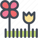 flowers, garden, gardening, grass, nature, navigation, sign icon