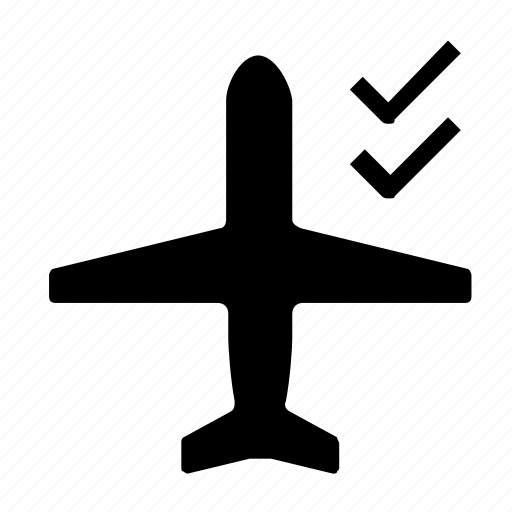 airplane, confirm, mode icon