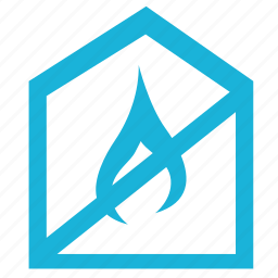building, cancel, fire, house, sign icon