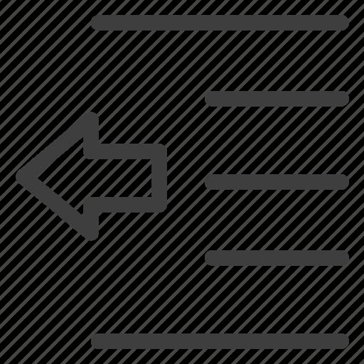 arrow, decrease, indent, left, move, text icon