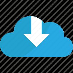 arrow, arrows, blue, cloud, creative, down, download, downloads icon