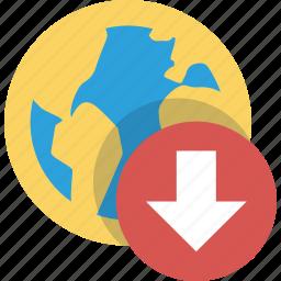 arrow, arrows, bottom, down, download, downloads, earth, global, internet, media, network, online, web icon