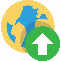 arrow, arrows, earth, global, online, top, up, upload, uploads icon