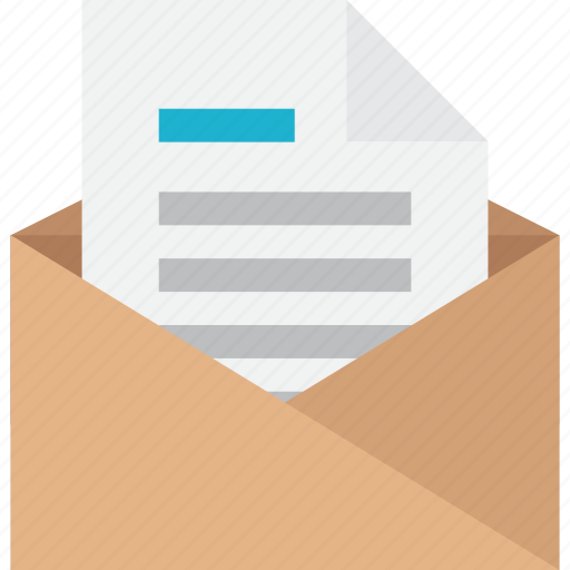 document, email, envelope, file, letter, message, opened icon