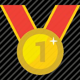 achievement, award, awards, badge, best, first, gold, medal, one, reward, trophy, win, winner, winners icon