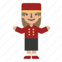 avatar, bellboy, character, custome, doorman, female, hotel icon
