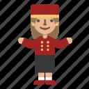 avatar, bellboy, character, custome, doorman, female, hotel