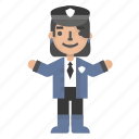 avatar, character, people, police, policewoman, security, shield icon