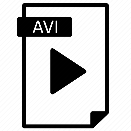 avi, document, extension, file, format, line, paper, video icon
