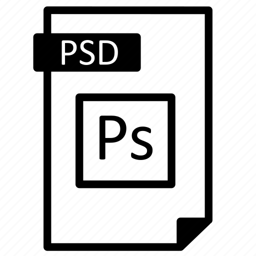 document, extension, file, format, line, paper, photoshop, psd icon