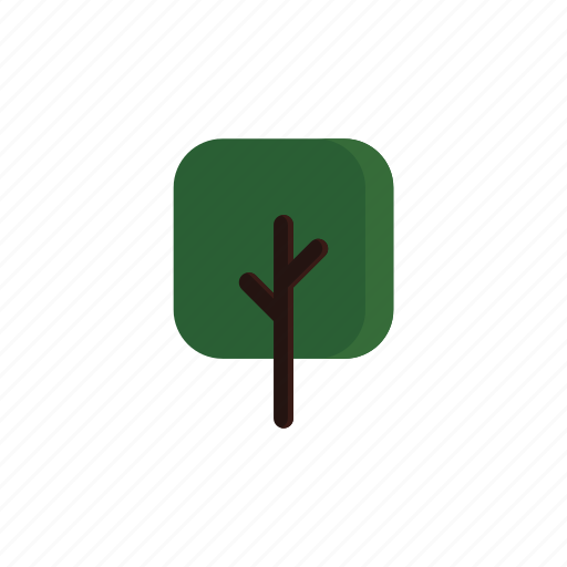 branches, green, square, tree icon