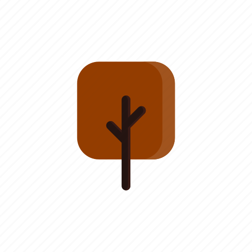 autumn, branches, red, square, tree icon