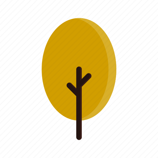 autumn, branches, oval, tree, yellow icon