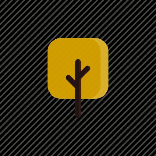 autumn, branches, square, tree, yellow icon