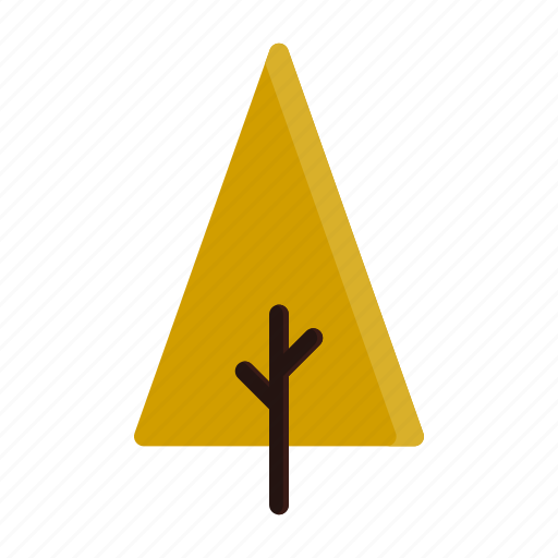autumn, branches, tree, triangle, yellow icon