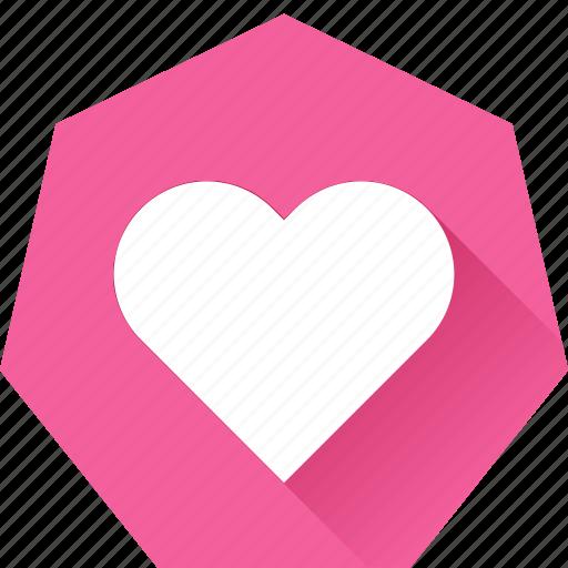 favorite, heart, heptagonal, like, love icon