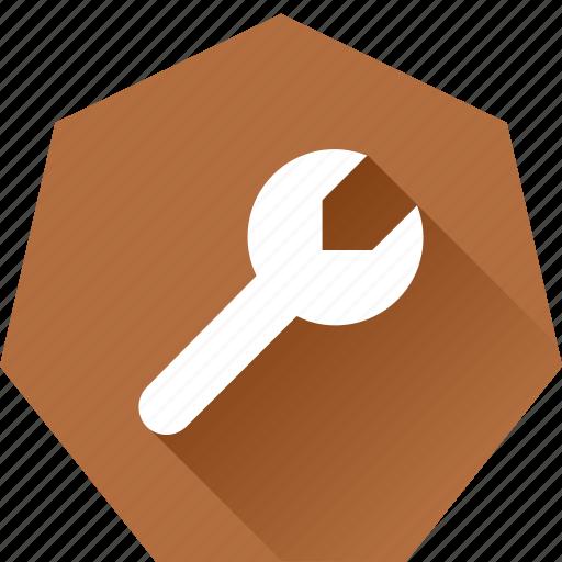 change, heptagonal, maintanence, settings, spanner, tool icon