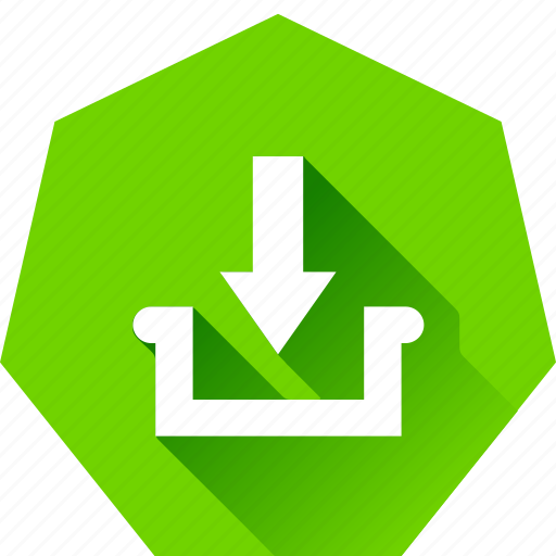 collect, download, heptagonal, inbox icon